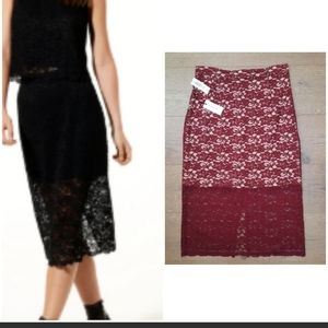 NWT ARITZIA Babaton Wilbur Lace Midi Skirt
